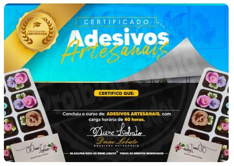 Curso de adesivos de unhas artesanal exemplo de certificado